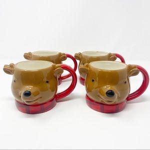 NWT Threshold 3D Reindeer Set of 4 Christmas Mugs
